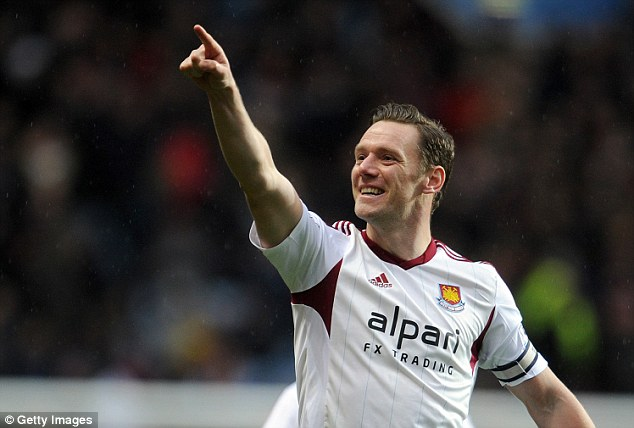 Skipper's delight: Kevin Nolan scored both of West Ham's goals as they beat Aston Villa 2-0 on Saturday