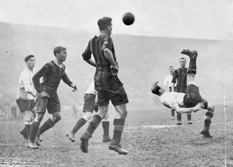 Bert Bliss executes an overhead kick for Tottenham in the 1921 FA Cup final against Wolverhampton Wanderers at Stamford Bridge