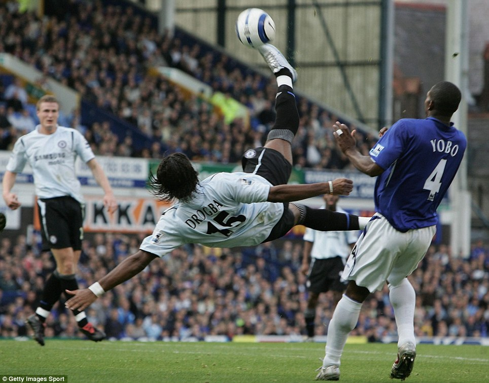 Didier Drogba tries an unsuccessful overhead kick during the Barclay's Premiership match between Everton and Chelsea at Goodison Park in 2005