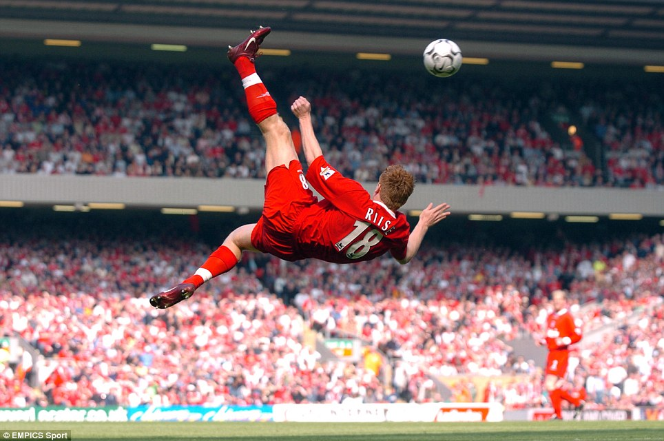 Liverpool's John Arne Riise attempts a spectacular overhead kick