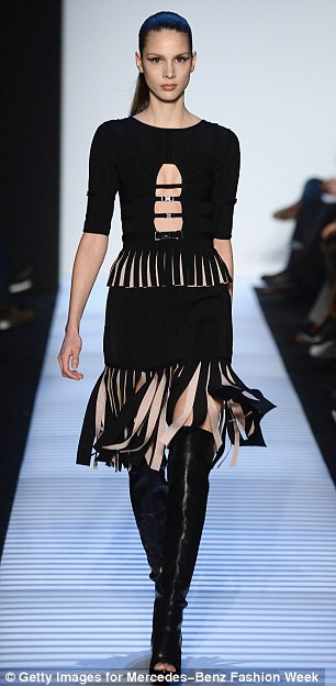 A new look: Bodycon outfits have been embellished with fur and velvet for the Fall 2014 collection