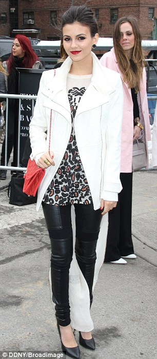 Monochrome magic: Victoria Justice opted for a neutral theme ahead of her attendance at the Herve Leger show on Saturday