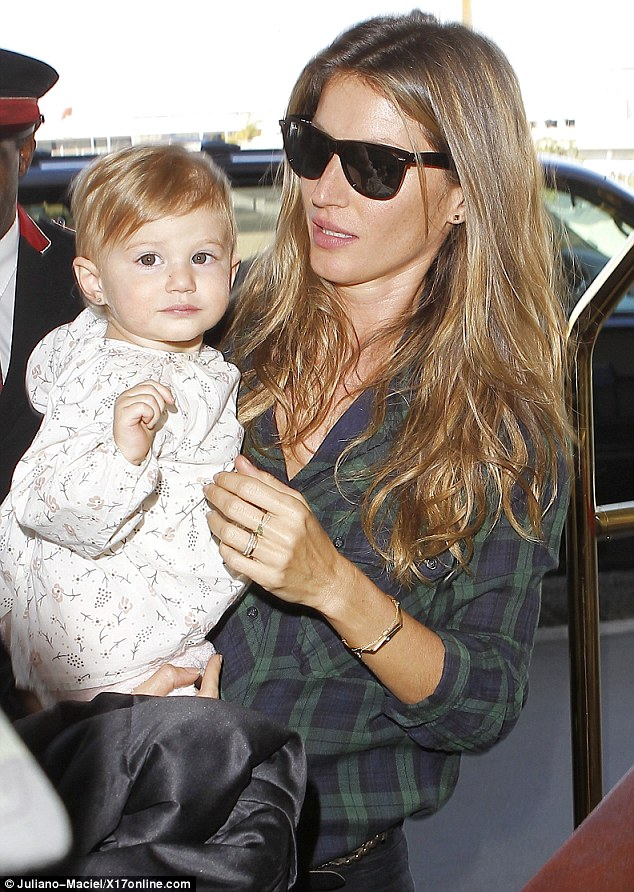 Just like mum! Gisele Bundchen's daughter Vivien showed off her similar looks and photogenic ability at Los Angeles International Airport in California on Sunday