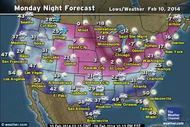 Monday night forecast: Temperatures are expected to plummet overnight in the South