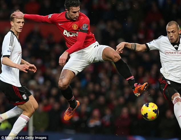 No go: Robin van Persie was also frustrated by Fulham's backline for the large part