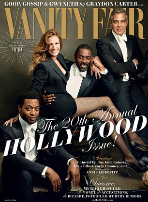 On top: The actress on the February cover of Vanity Fair, on stands now