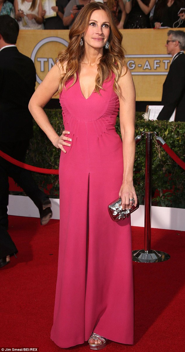 Busy woman: Roberts has been working the awards circuit for her turn in August: Osage County, which she did here on January 18 while attending the Screen Actors Guild Awards