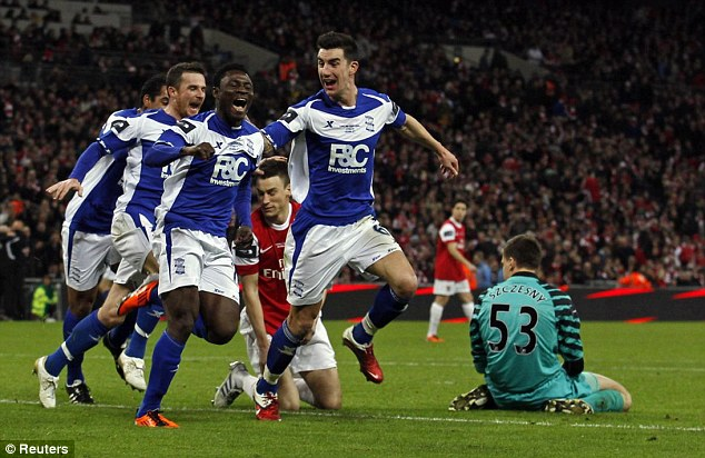 No silverware: Birmingham also struck again against Arsenal in the 2011 Carling Cup final, also in February