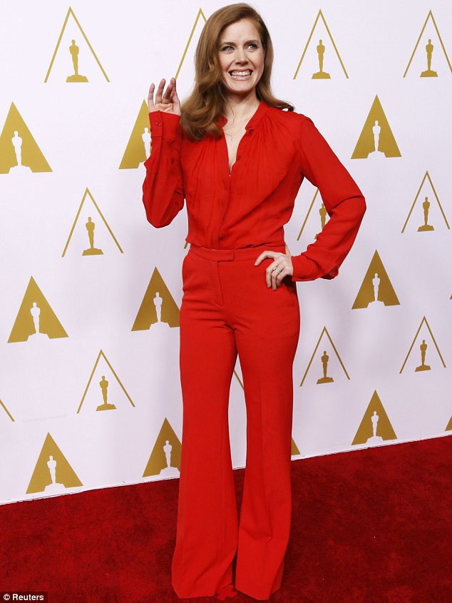 That '70s show: Amy Adams picked a Seventies inspired outfit for the Academy Awards nominees luncheon in Beverly Hills on Monday