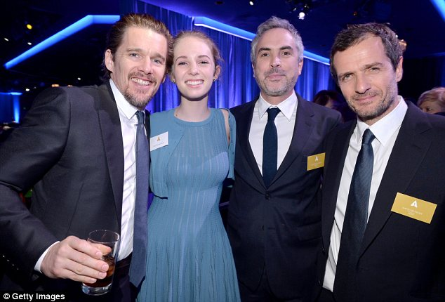 Rubbing shoulders with the stars: Maya also got to meet Alfonso and producer David Heyman inside the event at the Beverly Hilton hotel