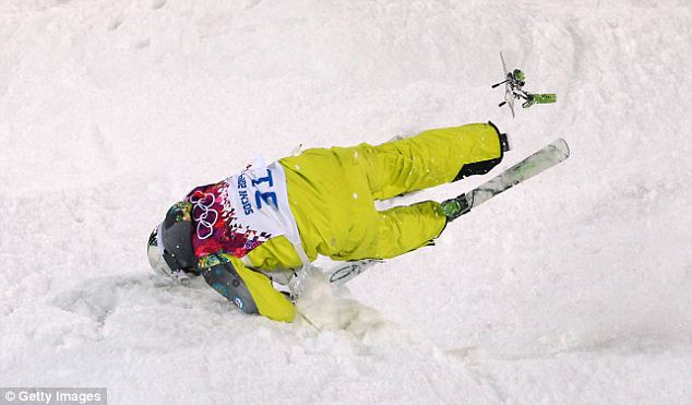 Face down: Dmitriy Barmashov of Kazakhstan goes down head first in the Men's Moguls Qualification