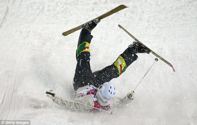 Wipe out: Reclusive millionaire Dale Begg-Smith of Australia crashes out in the Men's Moguls Qualification on day three of the 2014 Winter Olympics