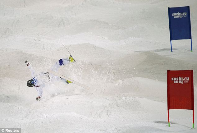 Bump: Finland's Jussi Penttala crashes during the men's freestyle skiing moguls qualification round at the 2014 Sochi Winter Olympic Games