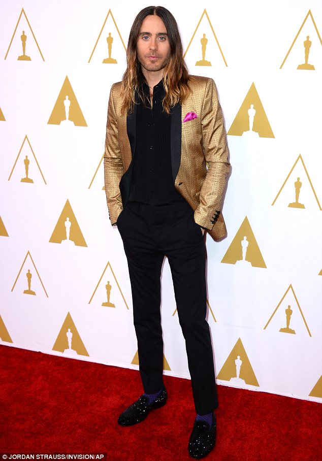 Eye-catching: In a gold jacket, sparkly shoes and purple socks, Jared Leto stood out at the Academy Awards Nominees Luncheon on Monday in Beverly Hills