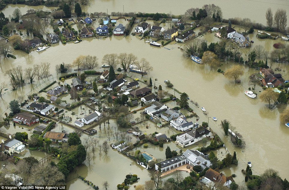Deluged: The Thames burst its banks in Chertsey yesterday. Images shows flooded homes between Chertsey and north Weybridge in Surrey