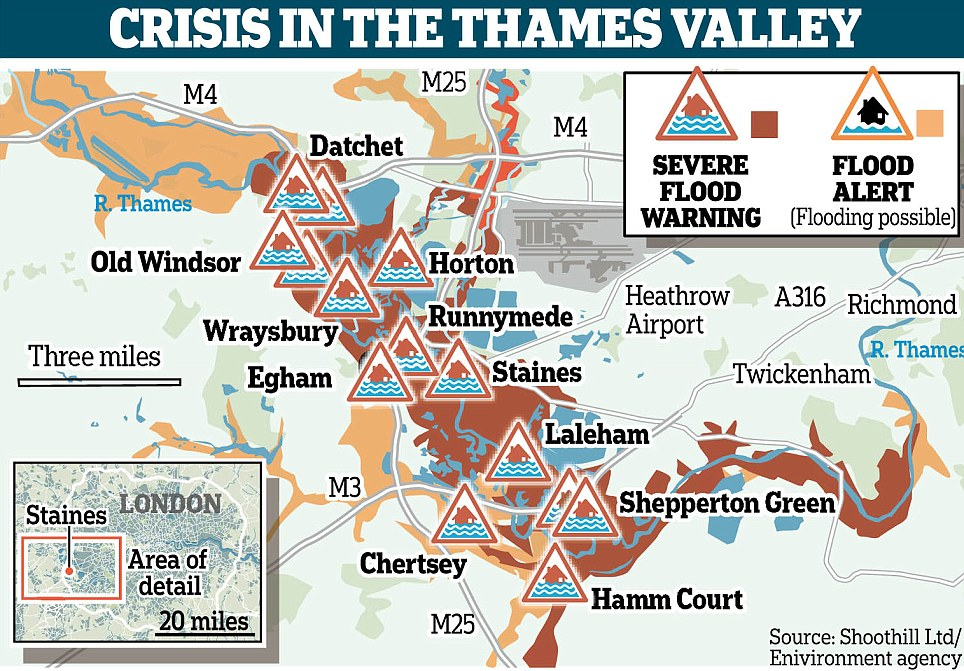 Growing crisis: 14 Severe Flood Warnings have been issued in the Thames area alone