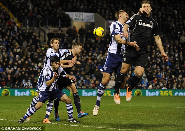Up for the battle: Ivanovic was in the thick of the action for Chelsea in the 1-1 draw at the Hawthorns