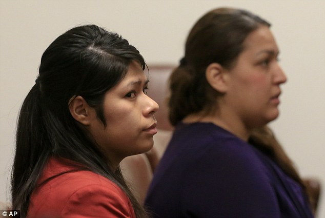 Suspects: Vanesa Zavala (left) and Candace Brito attend a preliminary hearing  in the West Justice Center earlier this month to determine if they will go on trial for the murder of Kim Pham