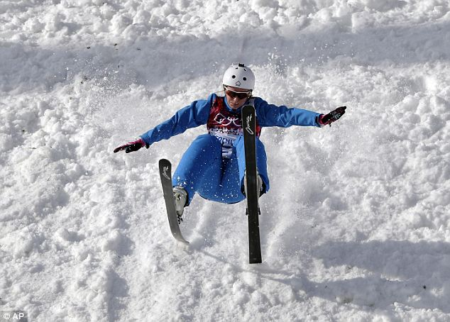 Oops: Hanna Huskova of Belarus crashes after a jump during freestyle skiing aerials training