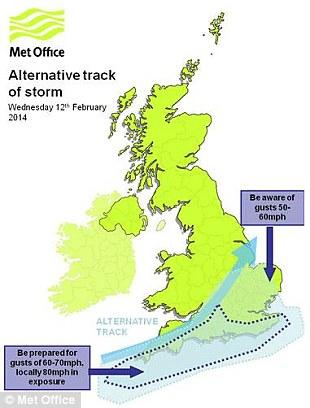 Met Office's alternative track of storm