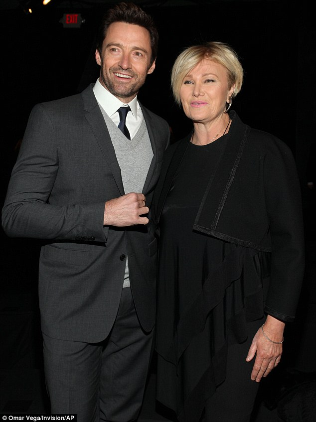 Looking dapper: Hugh Jackman and Deborra-Lee Furness also attended the DKNY event on Monday