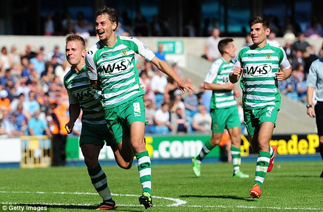 Long time ago: Ed Upson celebrates his winning goal for Yeovil at Millwall on the opening day of the season - he now plays for the London club
