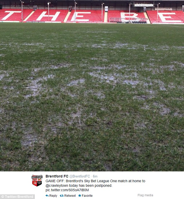 Weekend off: Wet and muddy conditions at Griffin Park meant the postponement of Brentford's match with Crawley Town on Saturday