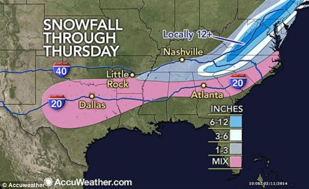Snow escape: The snow will continue to fall throughout the week as it moves up the East Coast