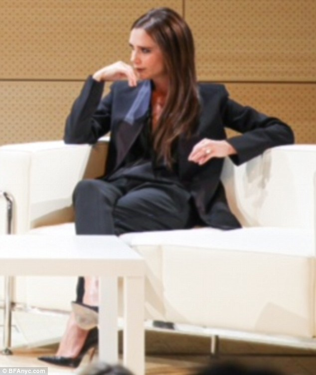 Best foot forward: Victoria Beckham revealed that she wants to design shoes in a conversation with Parsons' Dean of Fashion, Simon Collins