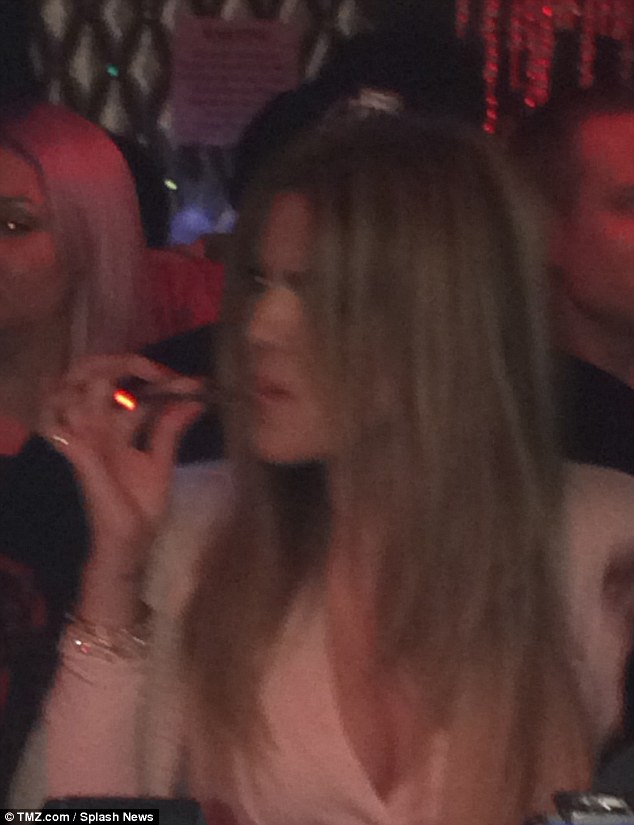 Lighting up: Khloe Kardashian was seen smoking while co-hosting a Monday evening at club Tru Hollywood with The Game