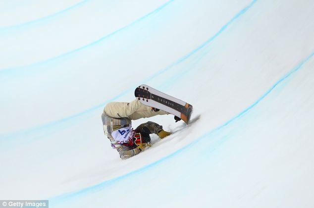 Tumble: American Danny Davis crashes out of the halfpipe finals after calling the course 'garbage'