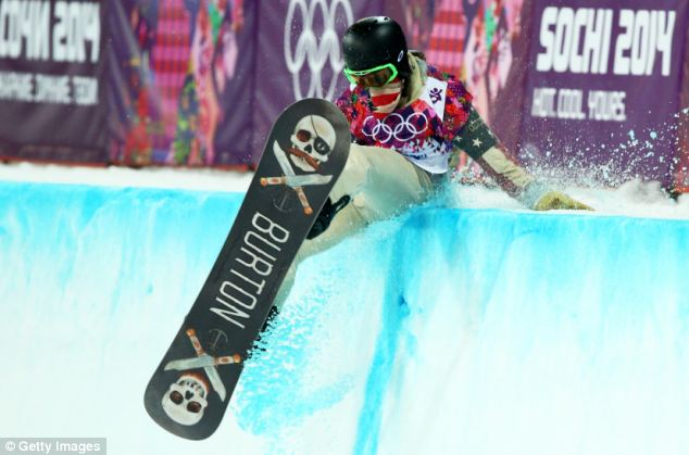 Slip: Shaun White is pictured crashing out of his first run in the men's snowboarding halfpipe on Tuesday. White, who has won gold at the last two Olympics, eventually came in fourth in the event