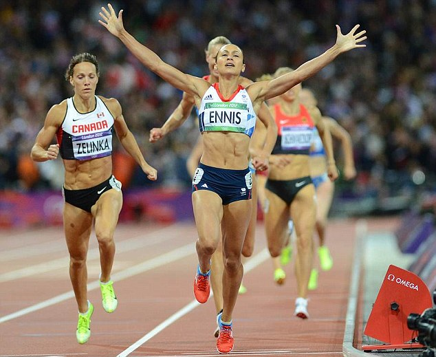 Golden girl: Jessica Ennis (as was) wins the 800m at London 2012