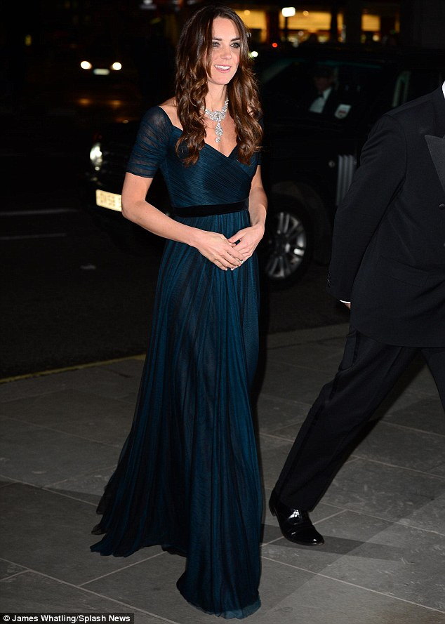 Royally good company: The actress was certainly in good company for the evening's event, with the Duchess of Cambridge joining her on the red carpet at the National Portrait Gallery in her role as patron
