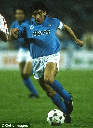 Magician: Maradona scored 81 goals in 188 appearances during his time playing for Napoli in the 80s