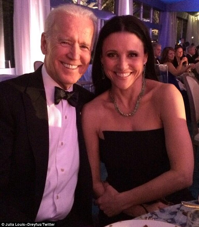 Veep... meet Veep! Julia Louis-Dreyfus posed with US Vice President Joe Biden as she attended the White House State Dinner on Tuesday night