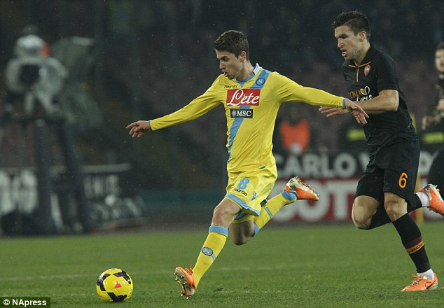New boy: Jorginho, signed from Hellas Verona in January, netted his first goal for the club to seal the victory
