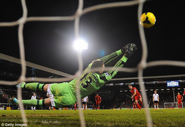 Salt in the wound: Unfortunately for Fulham, Maarten Stekelenburg's replacement David Stockdale was unable to save a last minute penalty