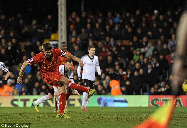 Spot on: Liverpool captain Steven Gerrard keeps his composure to score the winner after twice coming from behind