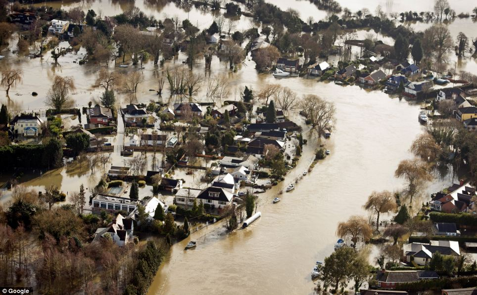 Hamhaugh Island in Shepperton, Surrey, has been swamped by rising water levels, with many having to abandon their homes