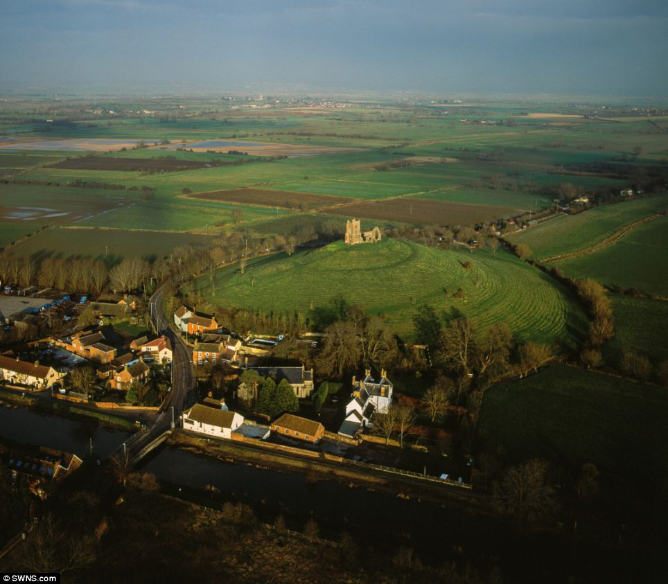 Burrow Mump is normally a beautiful landscape, filled with rolling hills and green pasture