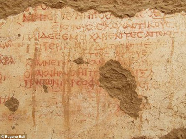 Archaeologists have discovered a 1,700-year-old school with Greek writings on its walls (pictured) in the ancient town of Trimithis, Egypt. It is thought the teacher wrote it very carefully in Greek for pupils to copy