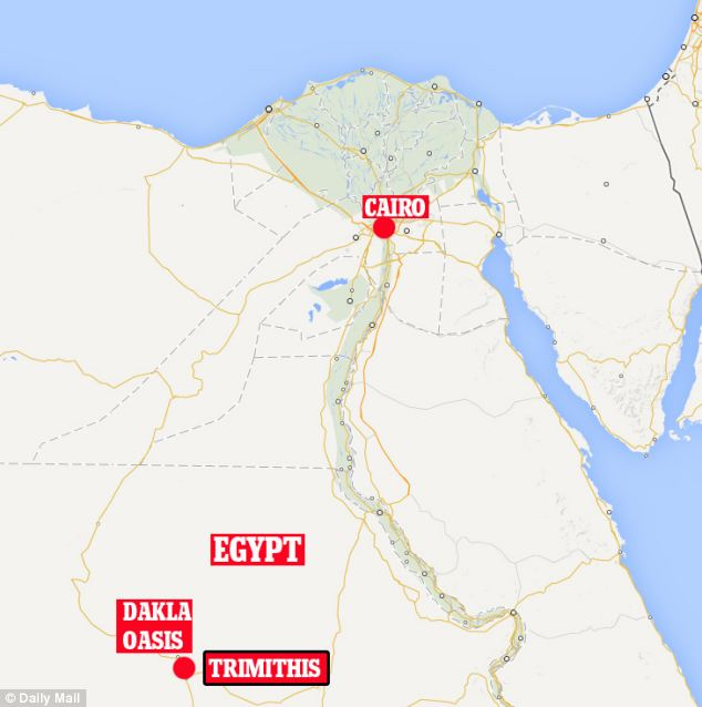 The building is located in Amheida in the Dakhla Oasis, some 200 miles (322km) west of the Nile, which was the ancient town of Trimithis (marked)