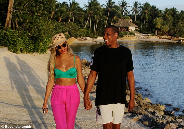 Love and marriage in paradise: Beyonce showed her love for husband Jay Z is for real in this snapshot posted to her Tumblr page that showed them on a romantic stroll in the Dominican Republic