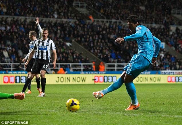 Quick thinking: Paulinho followed up a sublime backheel to double Tottenham's lead