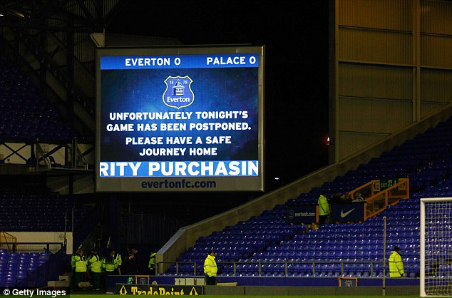 Postponed: The clash between Everton and Crystal Palace at Goodison Park was called off on police advice