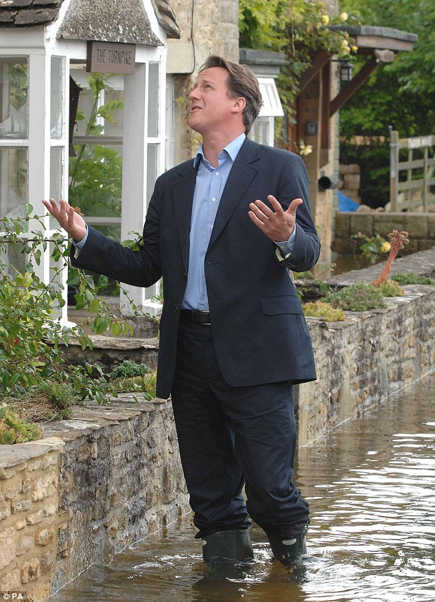 Cameron has been one of many big-name politicians to visit flood-affected areas in an attempt to score political points