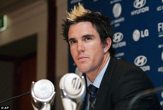 Cut above: Kevin Pietersen made his mark on the world of hairdressing with his famous 'skunk' look in 2005