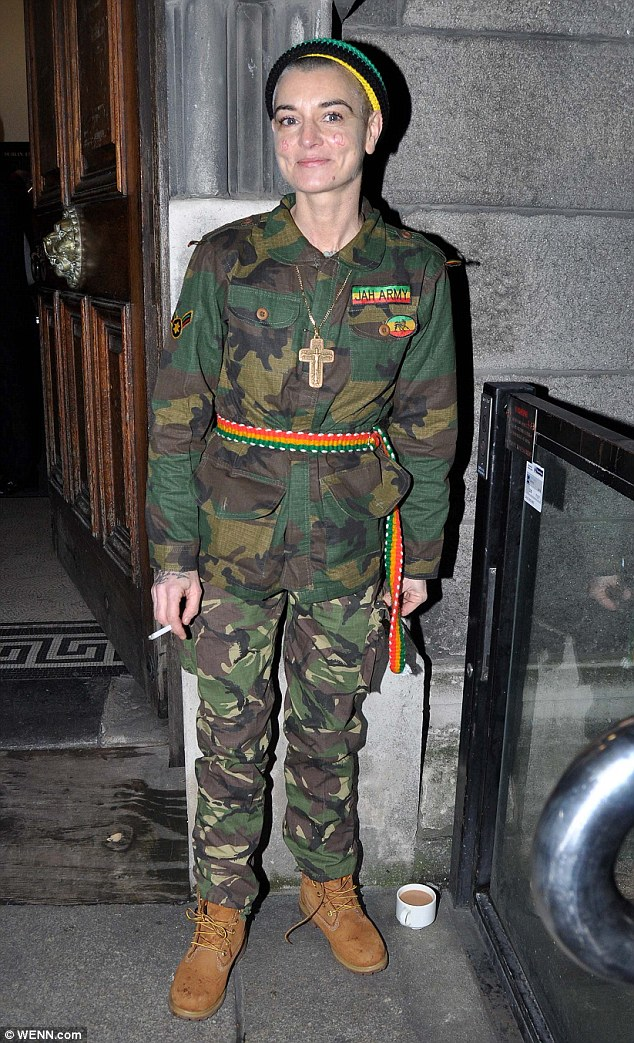 Debate: Sinead O'Connor dressed in a 'Jah Army' uniform, combat army-style clothing worn by American band SOJA, formerly known as Soldiers of Jah Army
