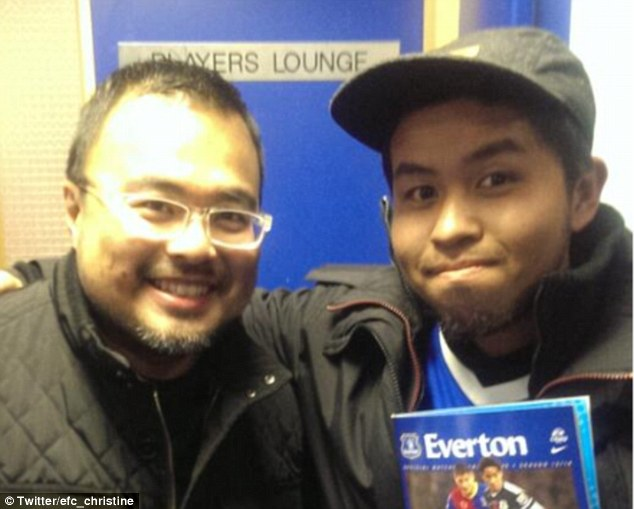 All smiles: Everton managed to track down Ric Wee and his Malaysian friend and gave the pair a special tour